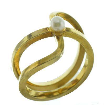 Δαχτυλίδι από επιχρυσωμένο ασήμι με πέρλα