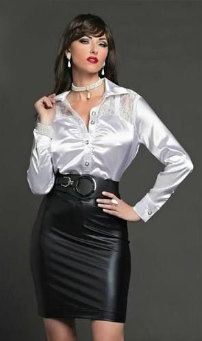 Afbeeldingsresultaat voor satin blouse leather pencil skirt