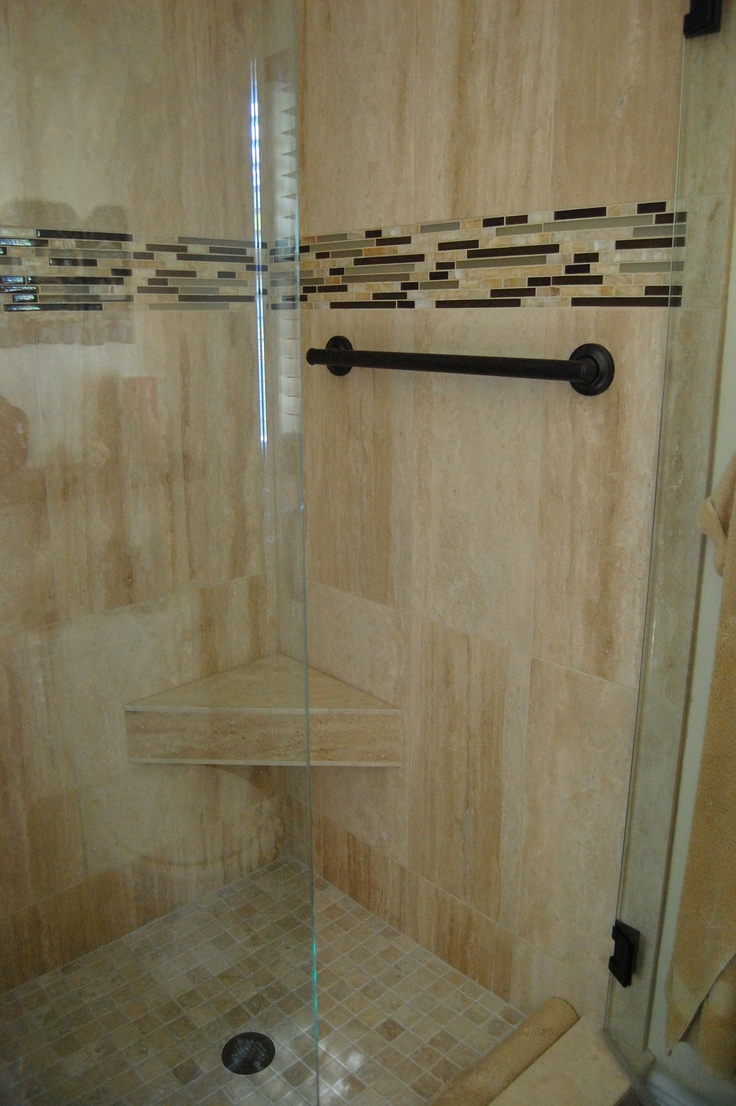 Virtu usa hazel 56 inch single sink bathroom vanity set free - Travertine Tile Glass Stone And Metal Accent Bronze Hardware Frameless Shower Door
