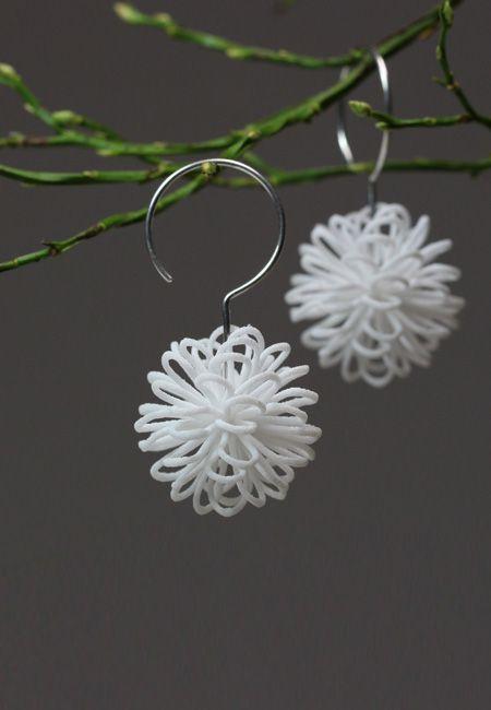 White filigree earrings, light statement dangle, white big earrings, eye…