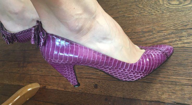 Vintage J. Renee Party Purple Snakeskin Heels - 1980s Glamour Pumps - Bow Party Heels by VintageBobbieMaude on Etsy https://www.etsy.com/listing/455062624/vintage-j-renee-party-purple-snakeskin