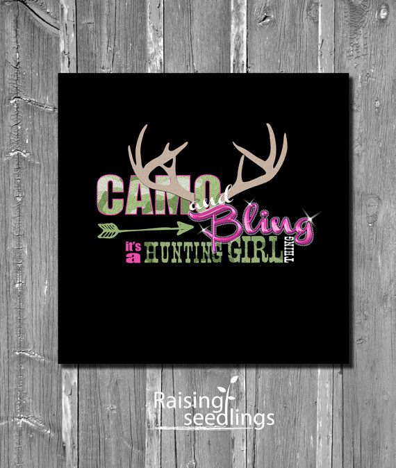 Camo & Bling HUNTING GIRL THING decor sign // hunting print // Camo and pink on Etsy, $18.00