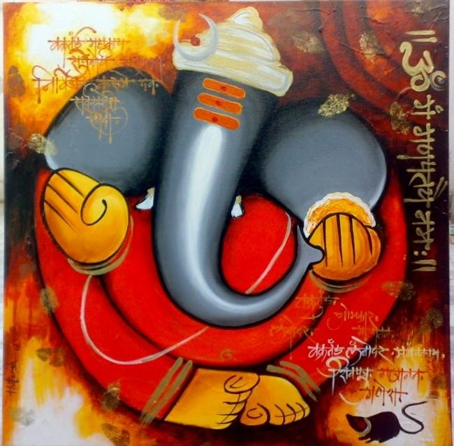 ganpati - Painting by Hutansh Artist in my paintings at touchtalent 71175