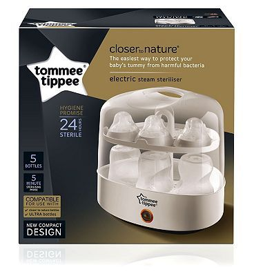 #Tommee #Tippee #Electric #Steriliser #10214854 #232 #Advantage card #points. The #Tommee #Tippee #Electric #Steam #Steriliser has been #designed for #feeding #accessories. It #provides a #quick and #natural way to #destroy #bacteria with a fast #sterilisation #cycle of only five #minutes. FREE #Delivery on #orders over 45 GBP. #(Barcode EAN=5010415232106)