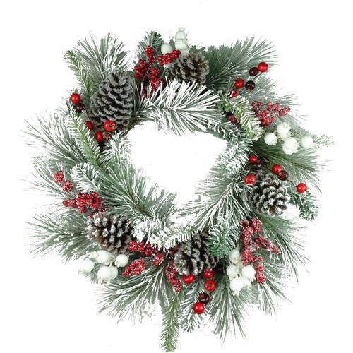 """Christmas Wreath 30"""" White Flocked Holly Berry Wreath Holidays Ornaments #ChristmasWreath"""