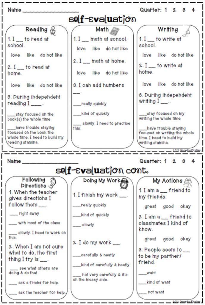 Blog post- Top 5 freebies of the week- includes a student self evaluation at report card time! Genius!