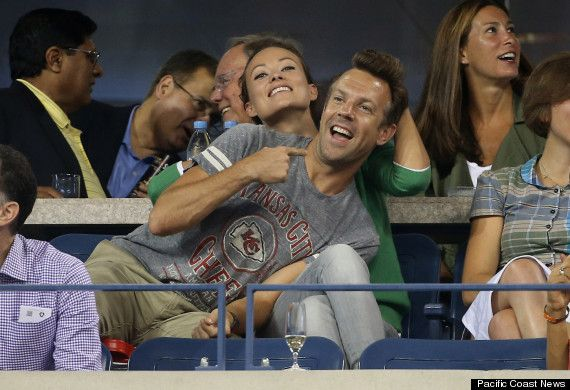 olivia wilde and jason sudeikis being adorable at the us open in queens this year.