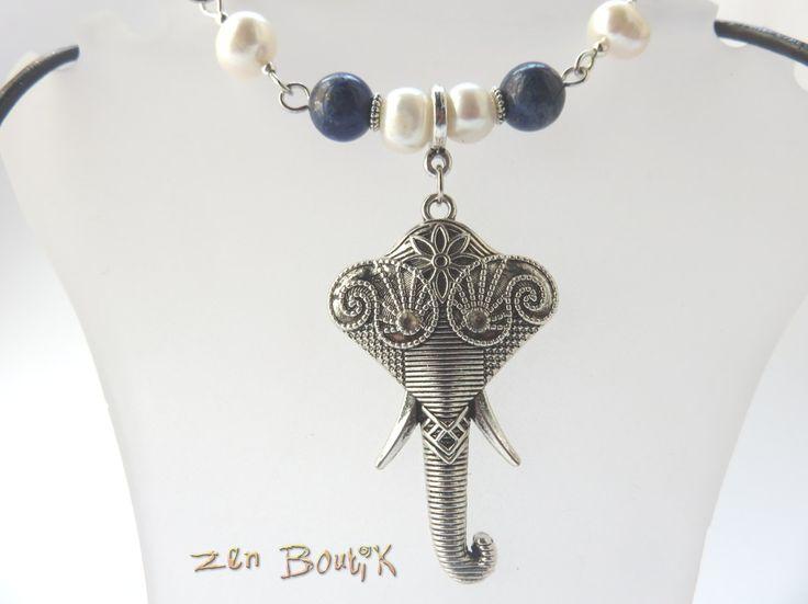 Collier Zen Chic, Lapis Lazuli, Perles Eau Douce, Ganesh, Eléphant, Bijoux Zen Boutik, Idée cadeau : Collier par zenboutik
