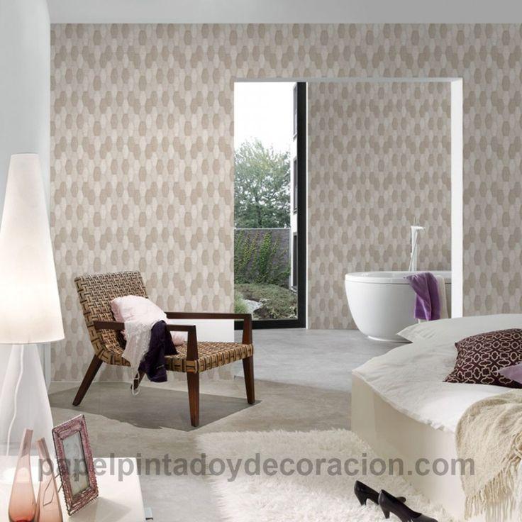 Papel pintado vinílico geométrico rombos tono beige y marrón efecto costura textura rugosa PDA8306931