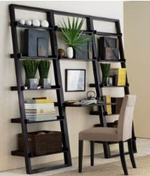 Ladder shelf display. I like the matching potted plants on the same shelf and mix of books and ceramics. Plus, baskets on the bottom for storage.