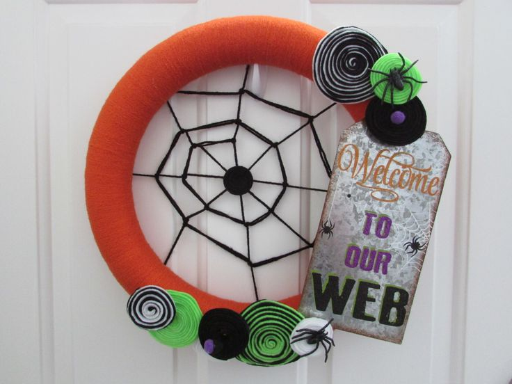 A personal favorite from my Etsy shop https://www.etsy.com/listing/477186176/halloween-yarn-wreath-halloween-wreath