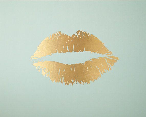 """""""Lippy Lippy"""" Gold Foil and Mint Lip Print 8x10 by Taryn St. Michele Wall Decor Design"""