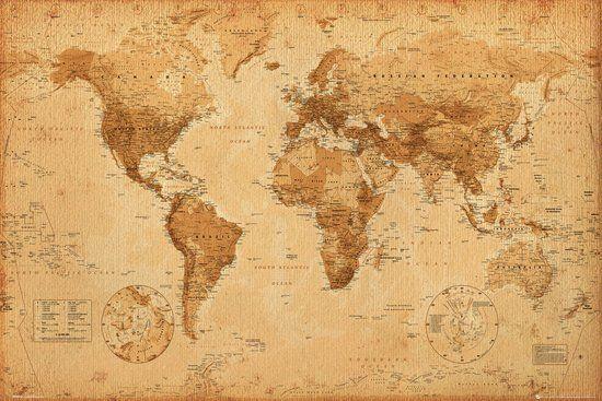 Poster - Wereldkaart - Antiek Stijl - 61x91,5 cm