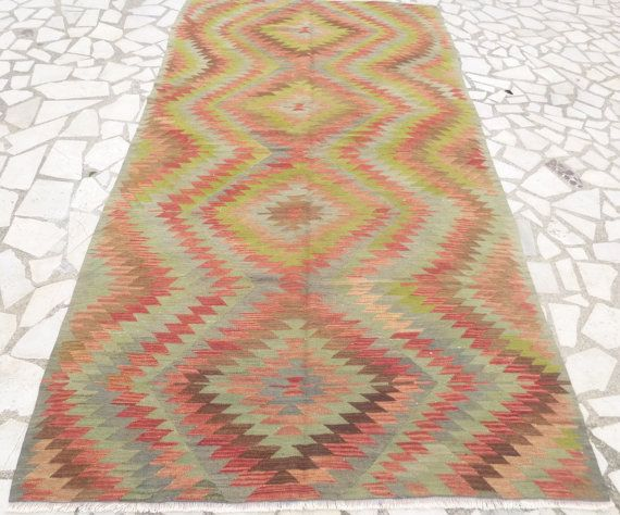 Vintage Hand woven Turkish Kilim Rug.    ♥ Brown. Shades of Greens and Blues. Rust. Cream.....    * 279 x 147 cm / 109,84 x 57,87 inches  * Pure