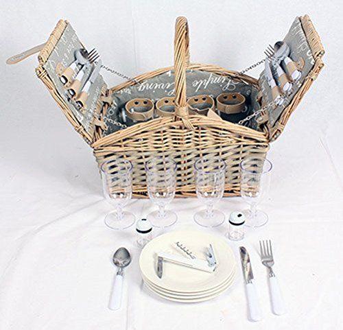 Familien Picknick-Korb für 4 Personen Picknickbox Picknicktasche Komplettset: Amazon.de: Sport & Freizeit