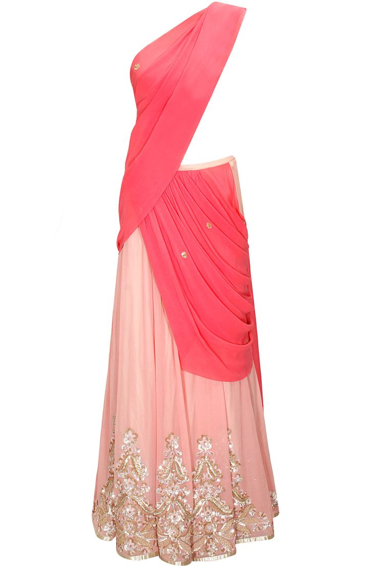 Light pink and candy pink pre draped sari with sequins sheeted blouse by Shehla Khan. Shop at: http://www.perniaspopupshop.com/designers/shehla-khan #ethnic #shehlakhan #lehenga #perniaspopupshop #shopnow