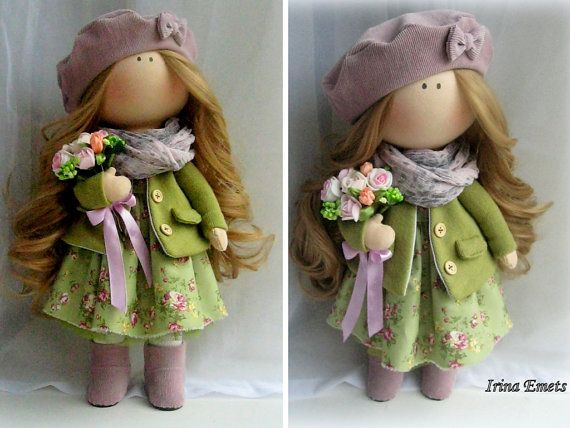 Tilda doll Handmade doll Fabric doll green brown color Soft doll Cloth doll Baby doll Rag doll Interior doll by Master Irina Emets
