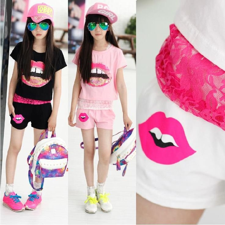 2015 kinderen zomer meisje kleding set met korte mouwen lip T-shirt + kant tank top + korte broek 3pcs set mode tiener meisjes kleding sets