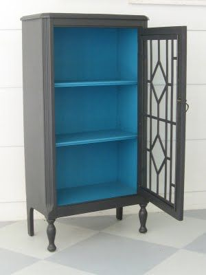 Old cabinet painted, curio cabinet?