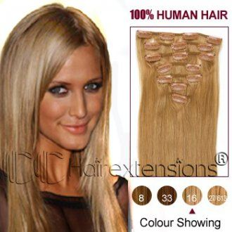 24 inch Golden Blonde(#16) Clip in Hair Extensions 120g