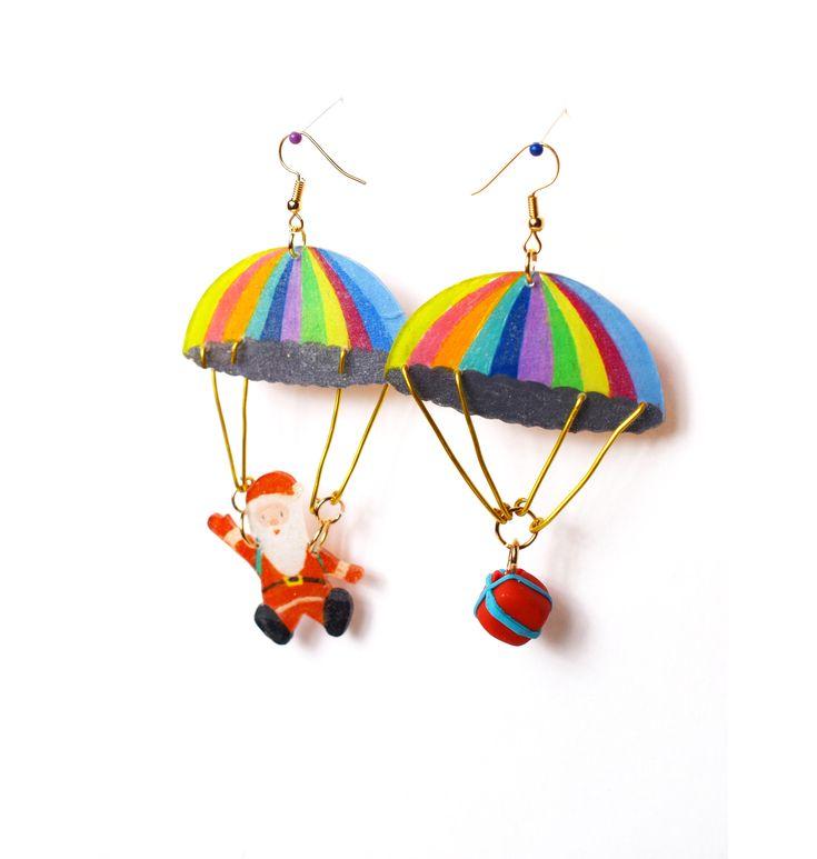 Handmade parachute Christmas gifts earrings/ Cute Santa shrink film DIY earrings/ Christmas gifts/ Original design Christmas jewelry by BlingBlingBeach on Etsy https://www.etsy.com/listing/572841359/handmade-parachute-christmas-gifts