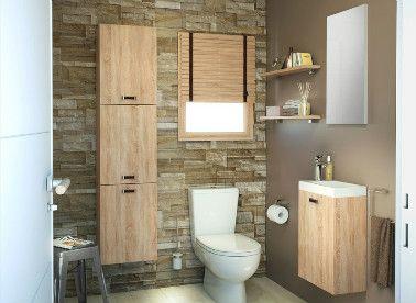 Des matériaux naturels pierre et bois pour des toilettes genre chalet de montagne chaleureux