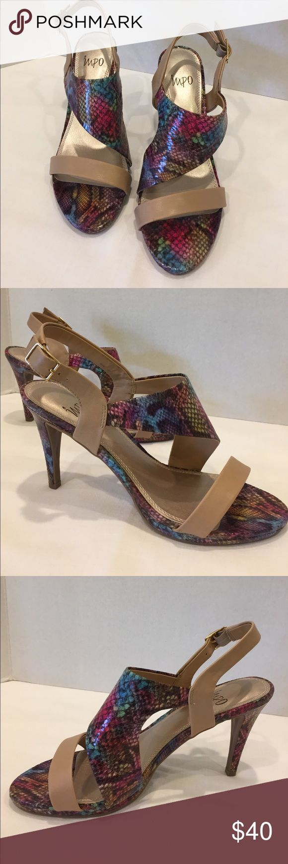 """NWOT Impo multi color snake heels These NWOT strappy heels literally go with EVERYTHING!  These multi-colored strappy heels have a snake skin pattern that includes tan, blue, pink, green, yellow, etc.....perfect pop of color for any outfit!  The heel is 4"""" high.  I'm selling these for my mom...she decided they were too high for her.  These shoes have never been worn, just tried on inside the house. Impo Shoes"""