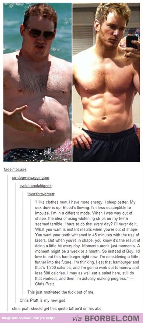 Chris Pratt Is Pure Motivation…if Andy can work out and see the big picture that means there is hope for us all!