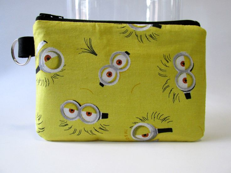 Handmade small pouch with zipper and key ring - one eye, two eyes, Minions Eyes on Yellow - coin purse - ready to ship by SuppliesStall on Etsy