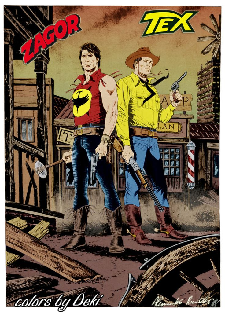 Zagor and Tex Piccinelli by ddeki