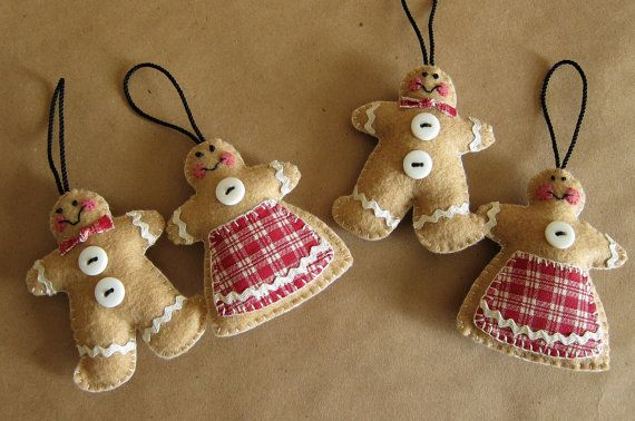 Set+of+4+Felt+GINGERBREAD+COUPLE+Christmas+by+TheArtisanBucket,+$20.00