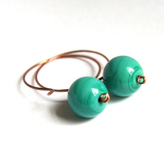 emerald glass and copper earrings  modern elegant by nanofactory, $15.00