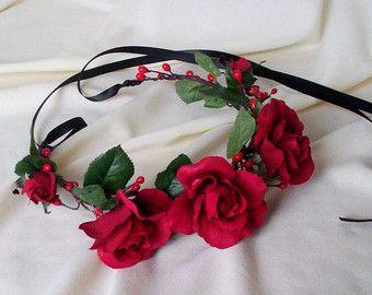 Red roses, flower crown