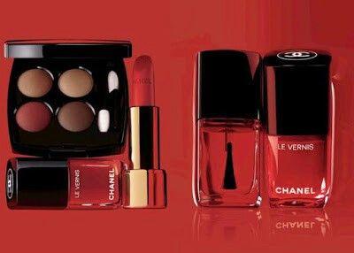 Red colours -  nail polish,  lipstick and Shadows