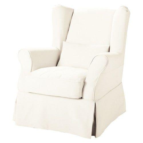 Cottage - Witte stoffen overtrekbare zetel