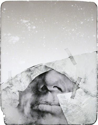 Oldrich Kulhanek. The Stuck Down Face, 1982. Lithograph, Ed.29/80. 19 x 15 inches.