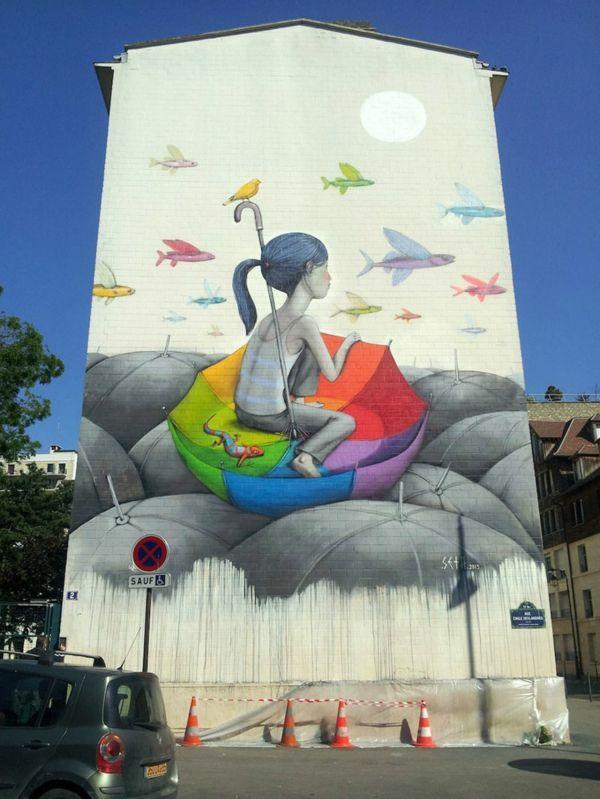 graffiti kunst paris frankreich mädchen bunte fliegende fische
