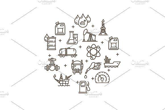Oil Industry Round Design Icon Icon Design Oil Industry Round Design