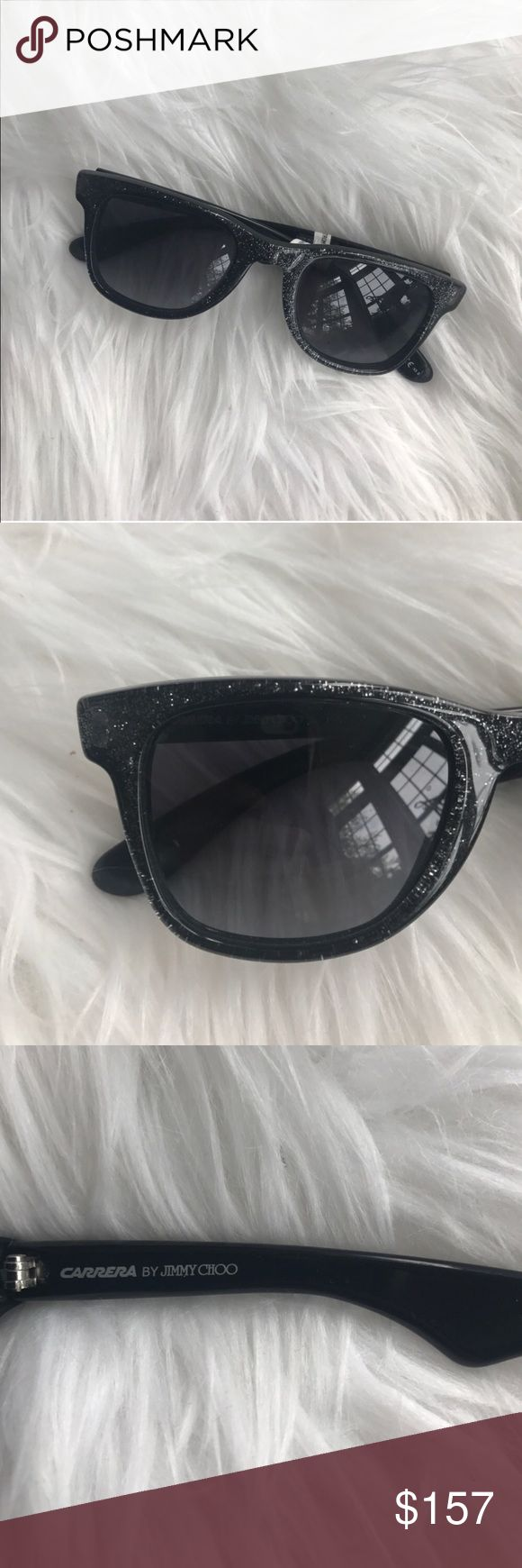 NEW Jimmy Choo Sunglasses Carrera by Jimmy Choo Black glitter sunglasses. New with tags, comes with a case but not the original. Keeping the case lol Jimmy Choo Accessories Glasses