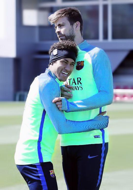 Neymar & Gerard Pique during FC Barcelona training session 28/04/2017