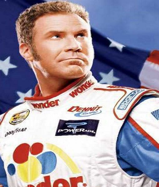 Talladega Nights Ricky Bobby Wonder White Racing Leather Jacket