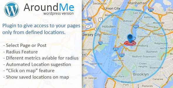AroundMe   http://codecanyon.net/item/aroundme/7755265?ref=damiamio       AroundMe is a plugin to allow access to your pages/posts from certain locations with a given radius. With this plugin you can set a location with defined radius for your post or page, and only users that are inside the radius are able to see the content of you post/page.  Features    Any Page or Post can be used  Setting a Radius around the location  Aviable different metrics for the Radius  Automated Location…