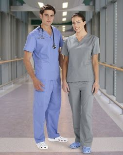 Nurses and doctors wear scrubs because on a daily basis they can get blood, stool, urine, vomit, and many other bodily fluids on work attire