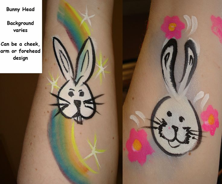 Bunny head body painting and face paitning ideas for Easter 2013
