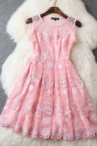 Nail bead embroidery lace dress