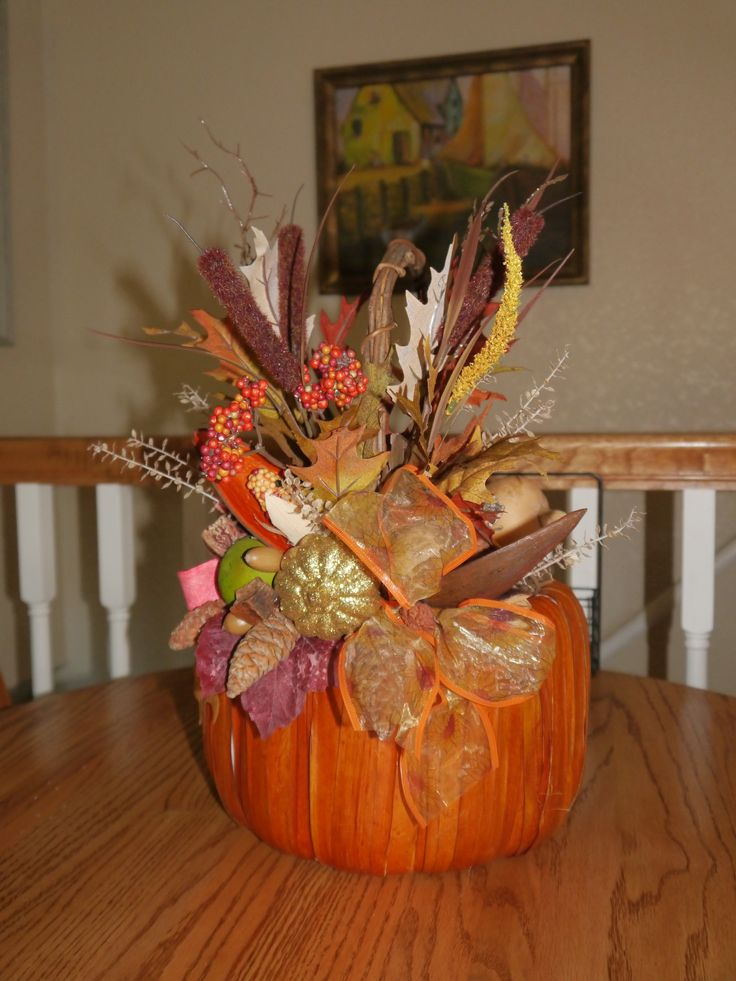 To enhance a basket, I just glued in old potpourri, pine cones and whatever I have on hand for fall decorating.