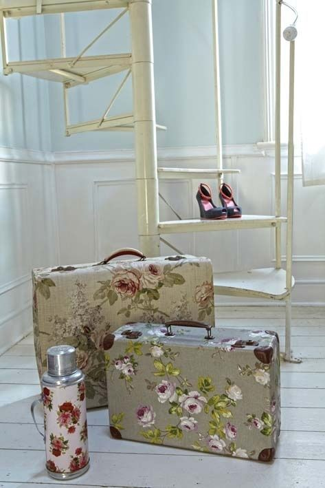 Give an old case a fresh start. modge podge fabric onto suitcases . ( your choice of fabric… shabby chic … modern… stripes, velvet …. hmmm . Use the suitcases to store art supplies, crafts supplies,...