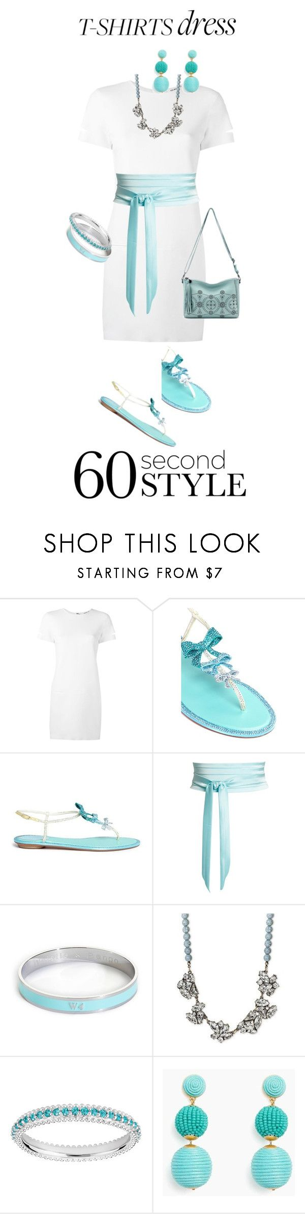 """""""60-Second Style: The T-Shirt Dress"""" by miriam-witte ❤ liked on Polyvore featuring Helmut Lang, René Caovilla, Racil, Whistle & Bango, SUGARFIX by BaubleBar and The Sak"""