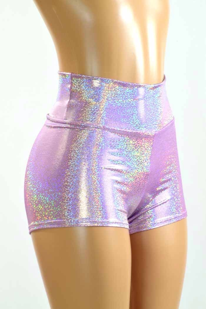 High Waist Lilac Purple Holographic Metallic Spandex Shorts  Festival Rave Clubwear 150951 by CoquetryClothing on Etsy https://www.etsy.com/listing/238045330/high-waist-lilac-purple-holographic