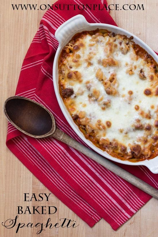 Easy Baked Spaghetti Recipe | Fast and delish. The whole family will love it! | onsuttonplace.com